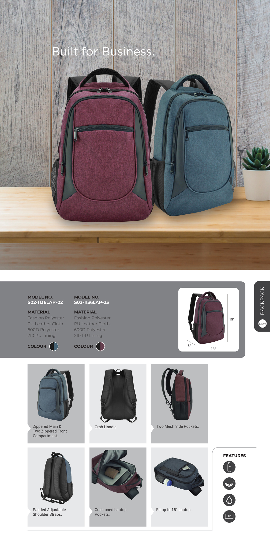 Backpack S02-1136LAP-02